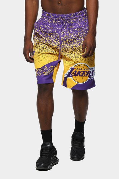 Black Pyramid Men's Los Angeles Lakers Logo Short Yellow