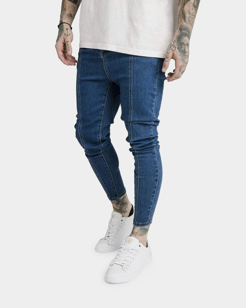 Sik Silk Men's Drop Crotch Pleated Appliqué Jean Midstone