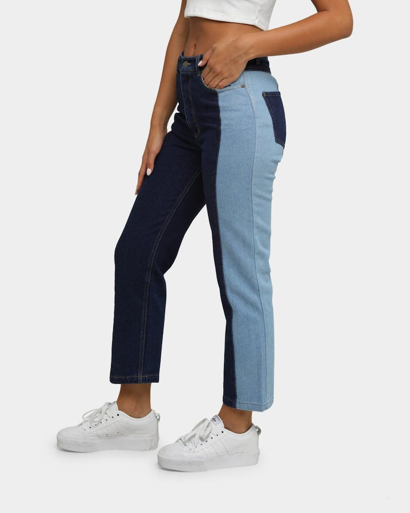 Karl Kani Women's OG Block Denim Jeans Blue Denim