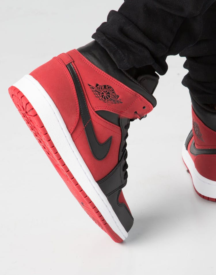new arrival 44ef5 38220 Air Jordan 1 Mid Red Black White – Culture Kings