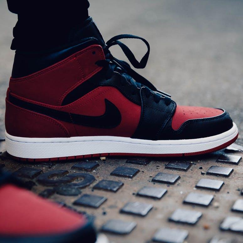Air Jordan 1 Mid Red Black White – Culture Kings 8278509fe