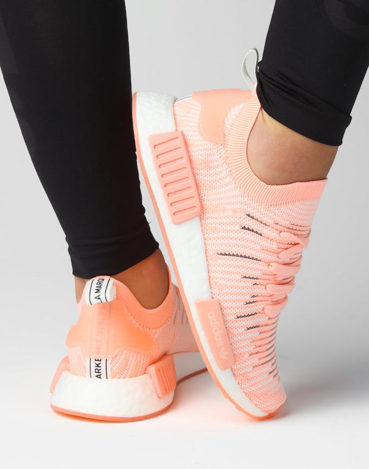 535aad5027190 Adidas NMD R1 STLT PRIMEKNIT SHOES Clear Orange White