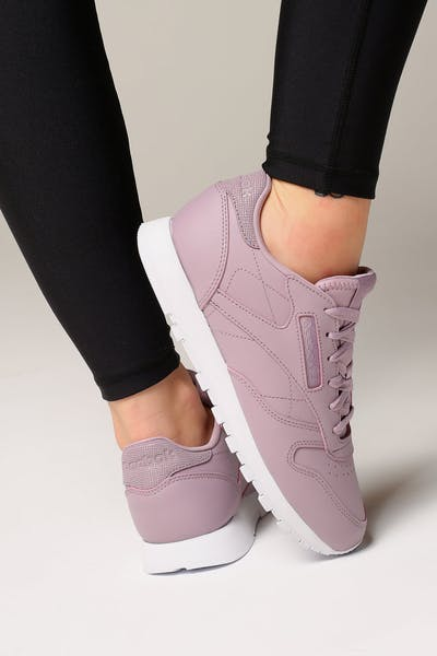 huge discount eea9d edab9 Reebok Women s Classic Leather Lilac White