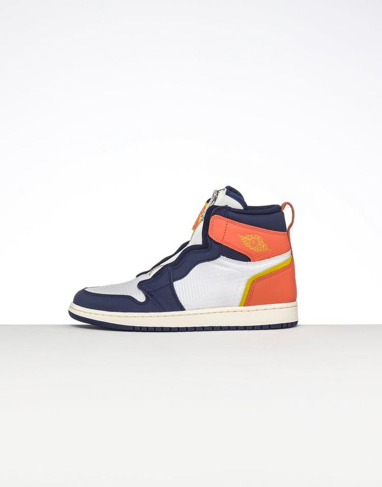 new style 0e790 a373f Jordan Women's Air Jordan 1 High Zip Sail/Blue/Orange