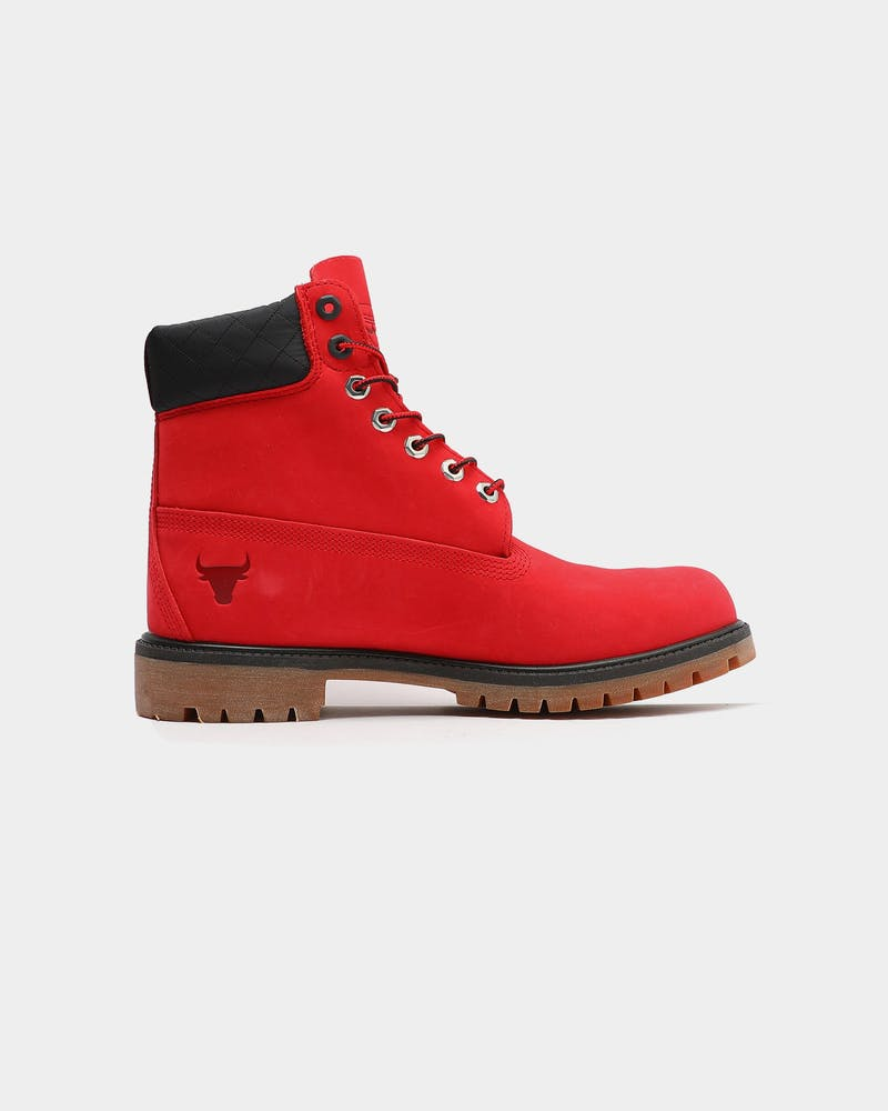 Timberland Mens NBA X Timberland Chicago Bulls 6-Inch Boots Red