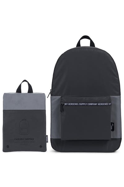 2f505fb5818 HERSCHEL BAG CO PACKABLE DAYPACK Black Silver