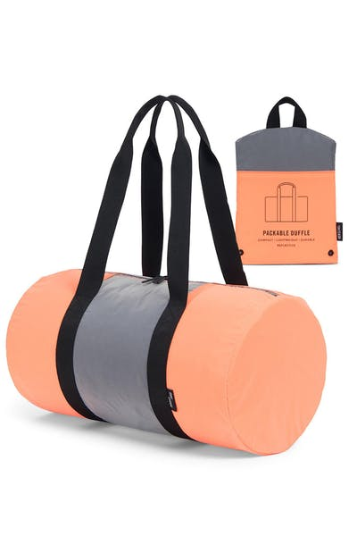83494991076 Herschel Supply Co Packable Duffle Orange Black Silver