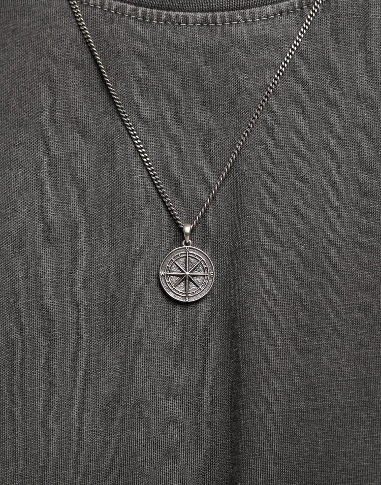 District Goods Compass Necklace Silver