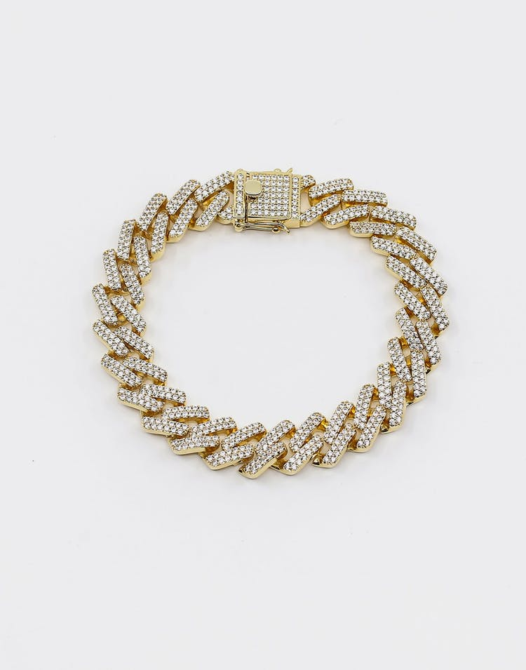 "Saint Morta Interlink Bracelet 10"" Iced Gold"