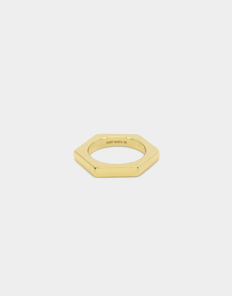 Saint Morta 4MM Hex Ring Gold