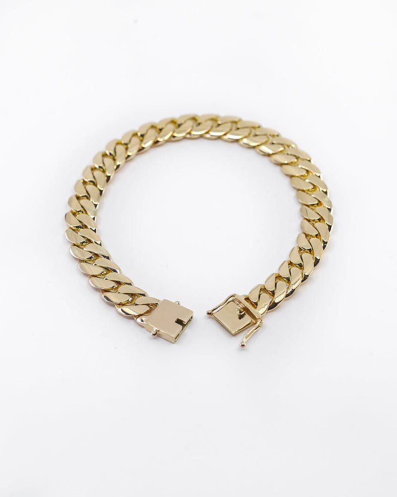 "HOUSE OF AURIC 12MM CUBAN LINK 8"" BRACELET 10K GOLD"