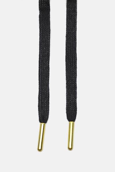 Lacespace Black Waxed Flat Lace Gold Metal Aglet