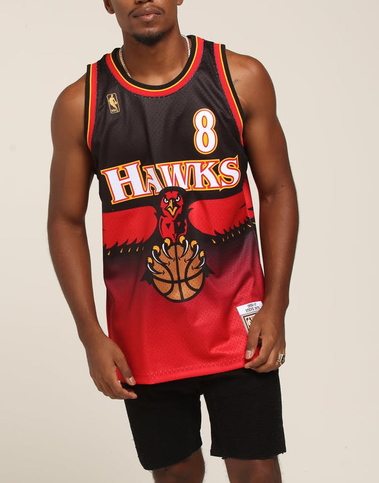 41bfe5d3ba22 Mitchell   Ness Atlanta Hawks Steve Smith  8 Road Swingman NBA Jersey –  Culture Kings