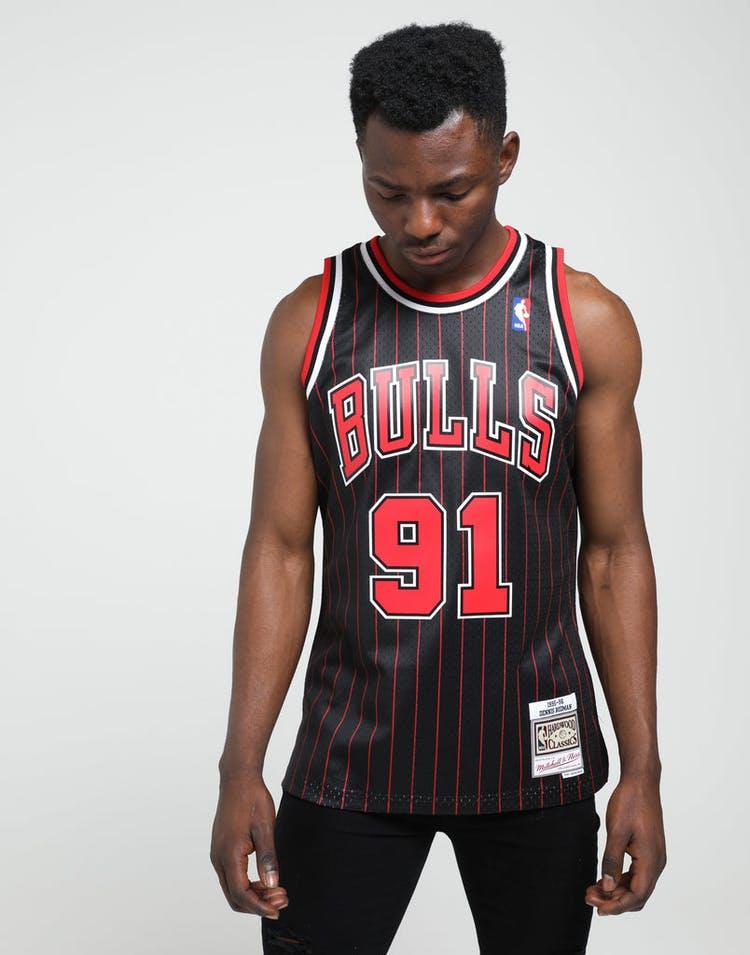 buy popular f710d 359d5 Mitchell & Ness Chicago Bulls Dennis Rodman #91 NBA Swingman Jersey  Black/Red