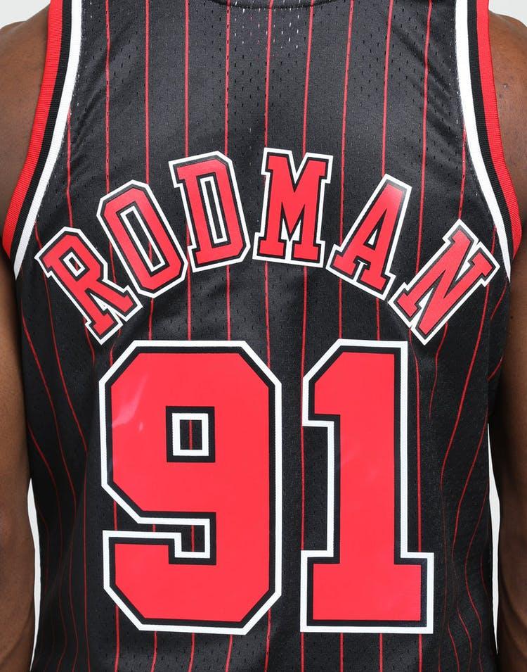 03991171ae8 Mitchell & Ness Chicago Bulls Dennis Rodman #91 NBA Swingman Jersey  Black/Red