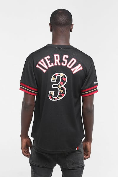MITCHELL & NESS '01 76ERS IVERSON MESH CREW BLACK