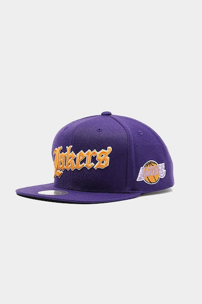 Mitchell & Ness Los Angeles Lakers Old English Faded Snapback Purple
