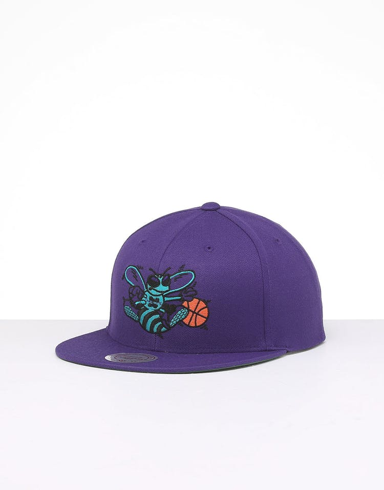 d42b91bc Mitchell & Ness Charlotte Hornets Retro Crown Throwback Snapback Purple