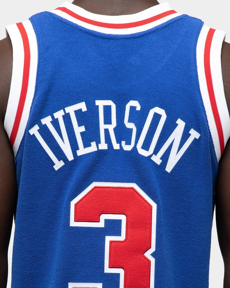 Mitchell & Ness Men's Philadelphia 76ers Allen Iverson '97 Rev Fleece Swingman NBA Jersey Royal