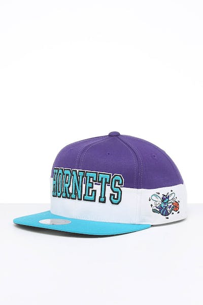 Mitchell & Ness Charlotte Hornets Block Pinch Panel Snapback Purple/Teal