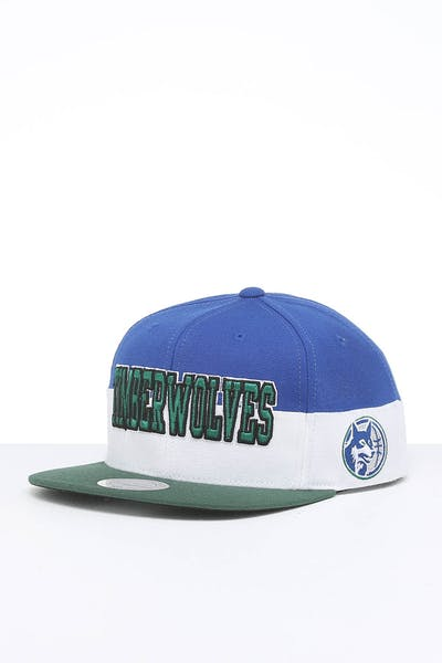 Mitchell & Ness Minnesota Timberwolves Block Pinch Panel Snapback Blue/Green