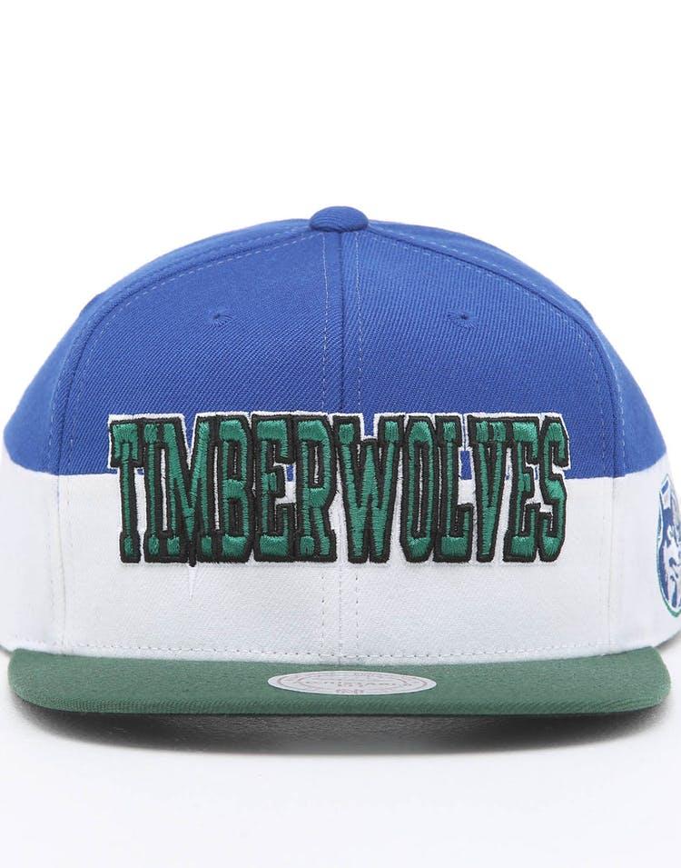 the best attitude bfa5d 42d0b Mitchell & Ness Minnesota Timberwolves Block Pinch Panel Snapback Blue/Green
