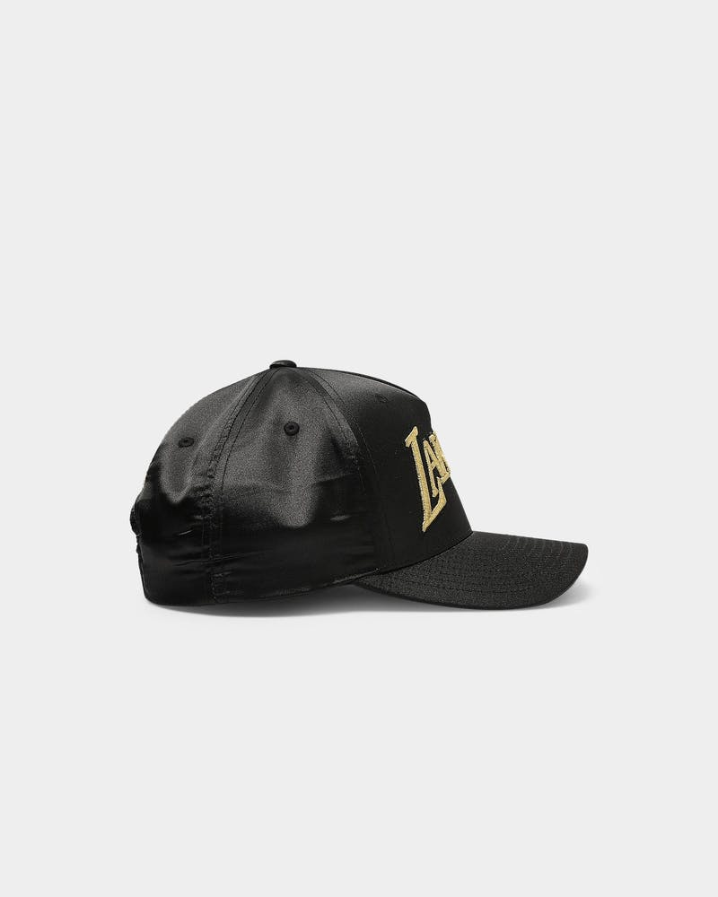 Mitchell Ness Los Angeles Lakers Gold Toile Satin Snapback Black Culture Kings