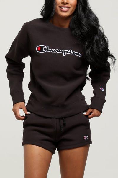 Champion Women s Reverse Weave Chenille Script Crew Black ec35ecca1