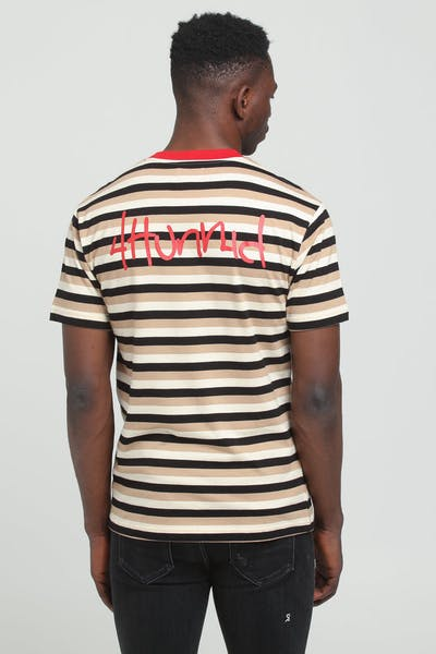 4HUNNID Stripe 2 Logo Tee Black/Tan