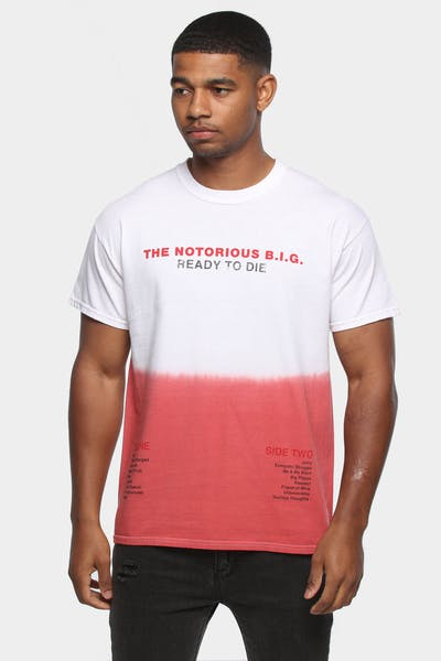 NOTORIOUS B.I.G R.T.D DIP DYE SS TEE WHITE/RED