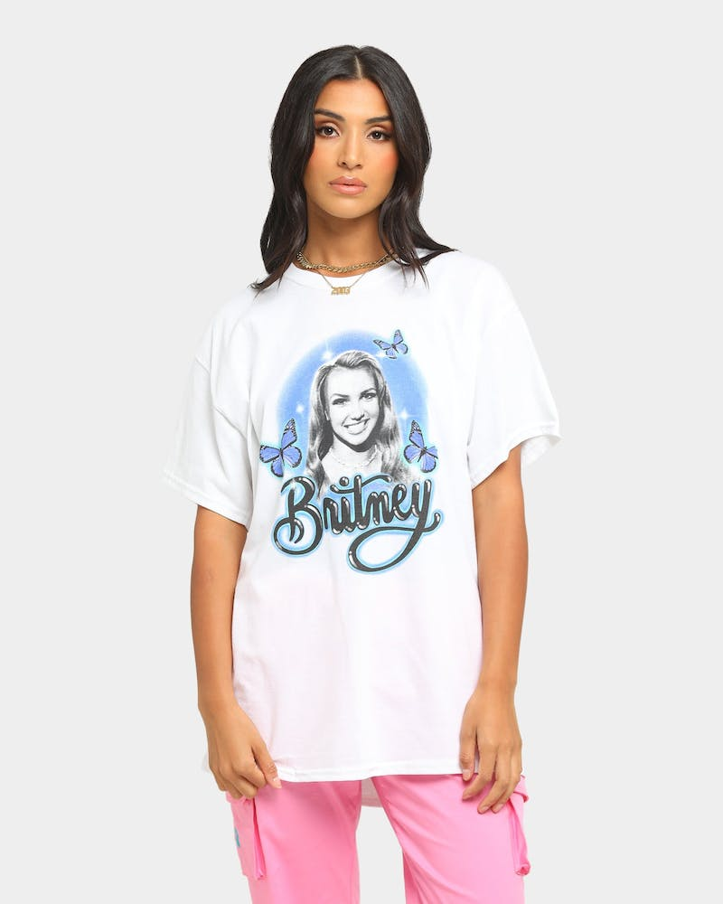 Britney Spears Butterflies Short Sleeve T-Shirt White