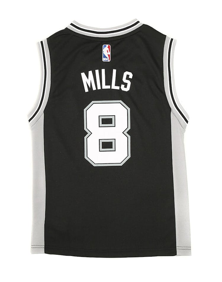 new concept 7e4a6 db12d Adidas Spurs Replica Road Youth Jersey Mills 8 Black