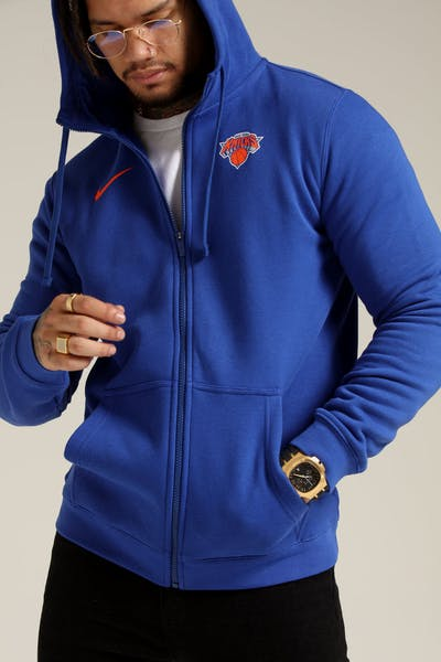 236912f436 Nike New York Knicks Hoodie FZ Essential Spring Hood Heather Blue Orange