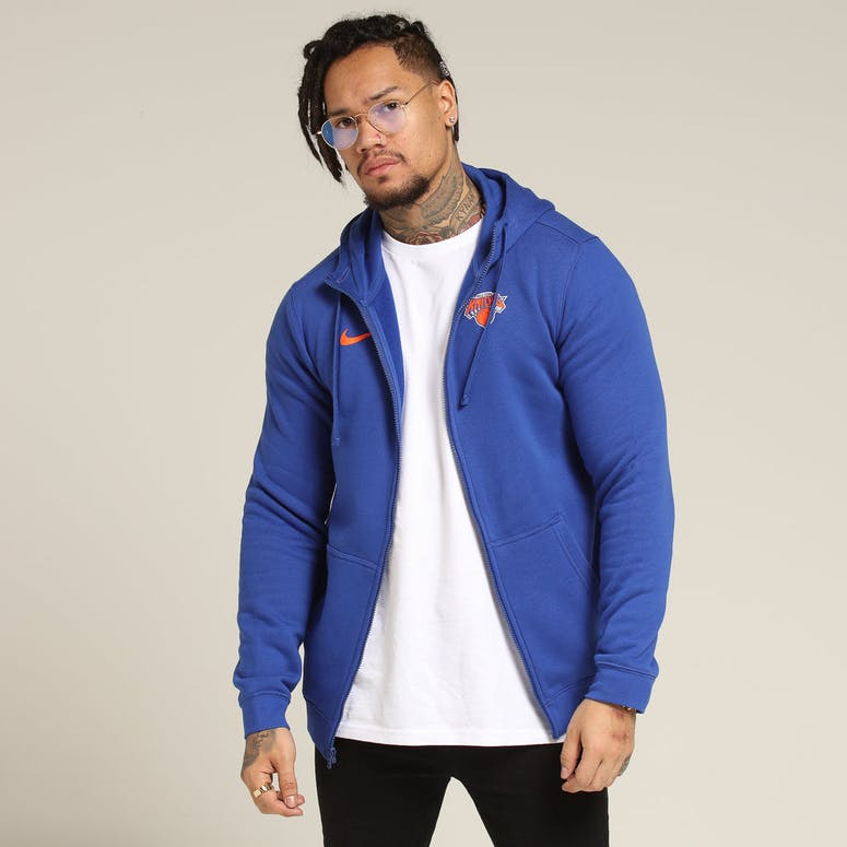 Nike New York Knicks Hoodie FZ Essential Spring Hood Heather Blue/Orange