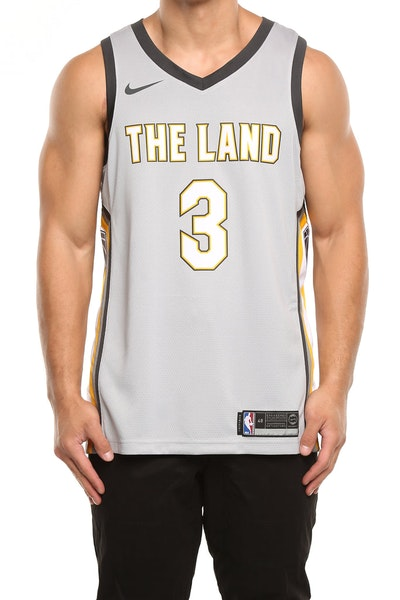 Nike Cleveland Cavaliers #3 Isaiah Thomas City Edition Swingman Jersey Silver