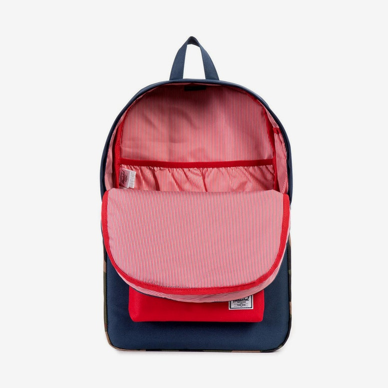 Heritage Leather Backpack Navy/camo/red