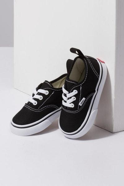 c80315326863 Vans Toddler Authentic (Elastic Lace) Black White