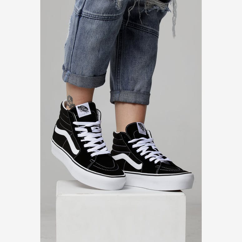 Vans Women s SK8-HI Platform 2.0 Black White – Culture Kings e08ba820cd