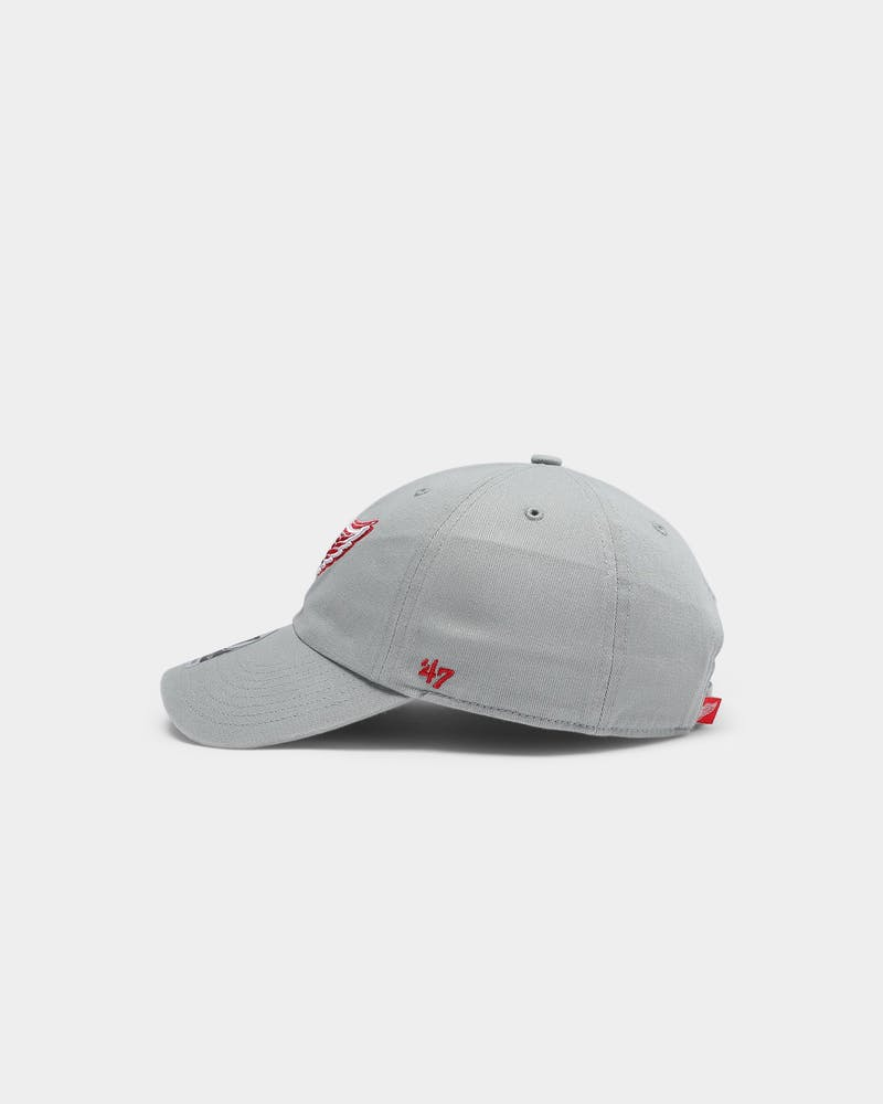 47 Brand Men's Detroit Red Wings Clean Up Strapback Grey