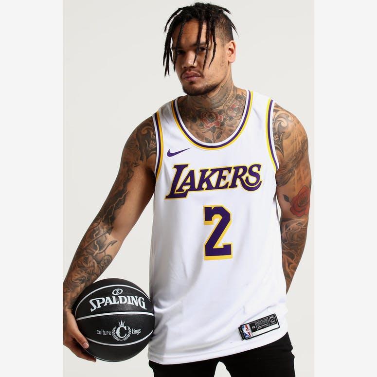 9aec5029e Nike Los Angeles Lakers Lonzo Ball  2 NBA Swingman Jersey Home White Y –  Culture Kings