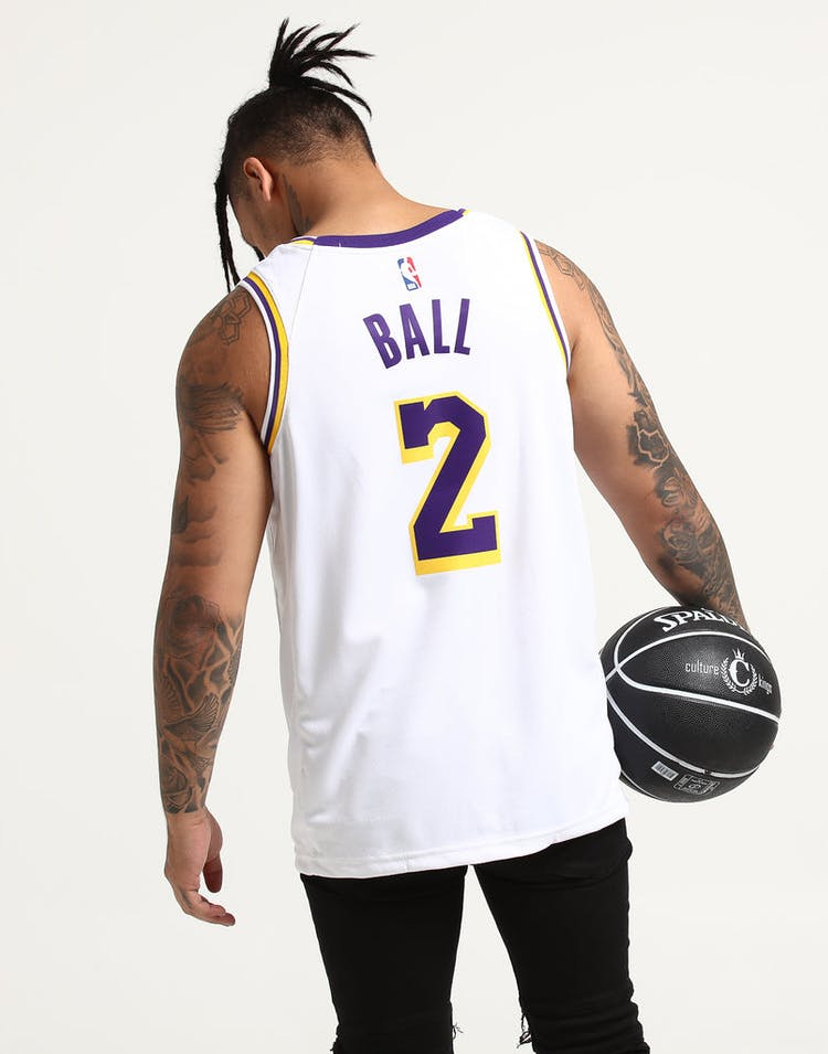 6c51b338b692 Nike Los Angeles Lakers Lonzo Ball  2 NBA Swingman Jersey Home White Yellow