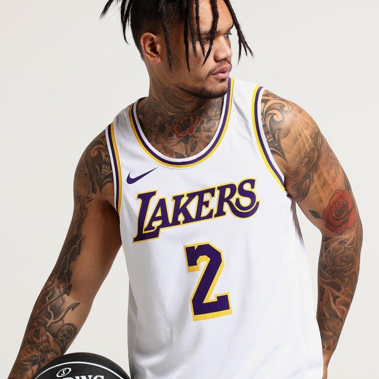 Nike Los Angeles Lakers Lonzo Ball  2 NBA Swingman Jersey Home White Yellow  e0eca4440