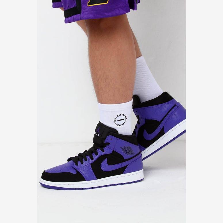 d4a22d892453c4 Jordan Air Jordan 1 Mid Black Purple – Culture Kings