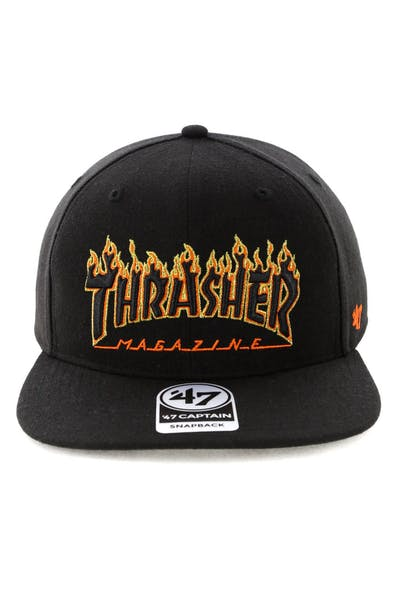 Thrasher x 47 Brand Goldfronts Captain Snapback Black/Orange