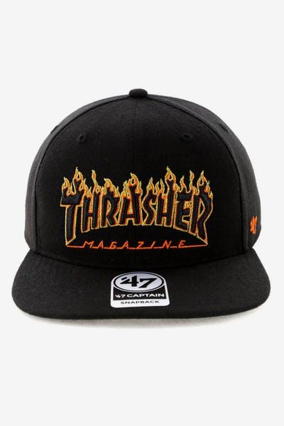 601551e985e Thrasher x 47 Brand Goldfronts Captain Snapback Black Orange