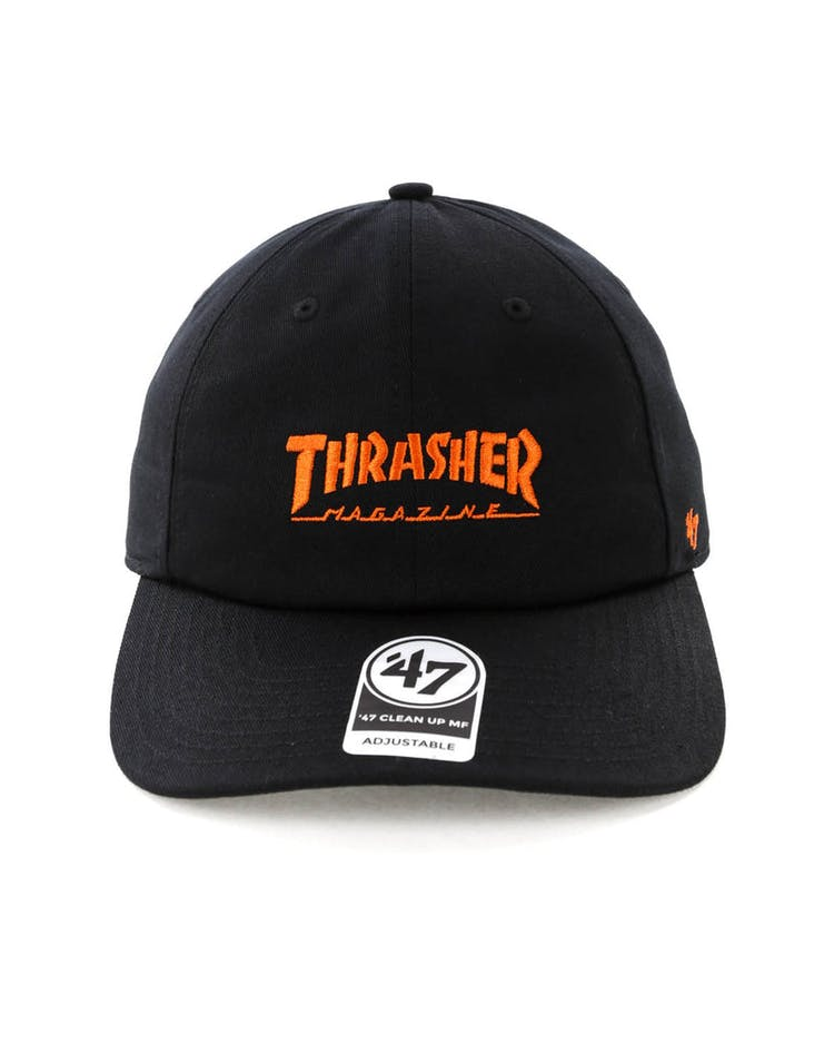 3b1dba899da8 Thrasher x 47 Brand Onboard Clean Up Captain MF Strapback Black Orange –  Culture Kings