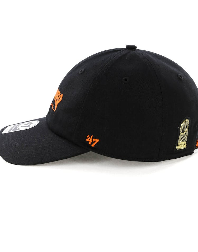 new arrival c43a1 24d60 Thrasher x 47 Brand Onboard Clean Up Captain MF Strapback Black Orange