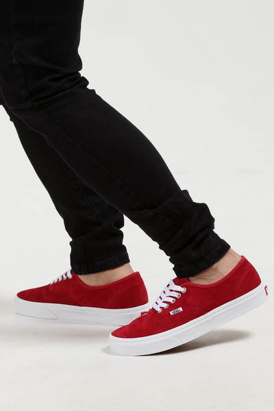 9996603807 Vans Authentic Pig Suede Red White
