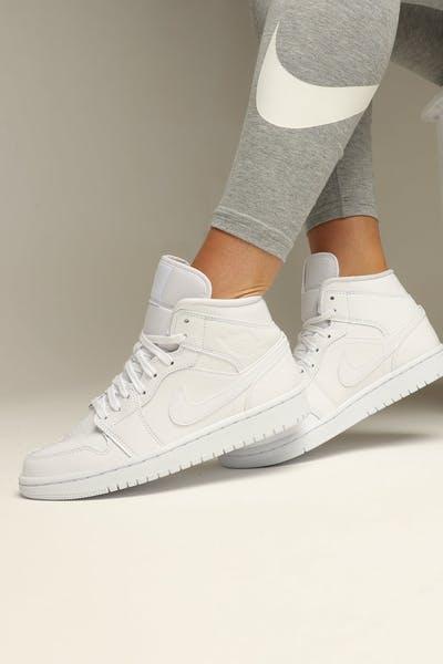 sports shoes 4536d 96fa4 JORDAN WOMEN S AIR JORDAN 1 MID WHITE WHITE WHITE