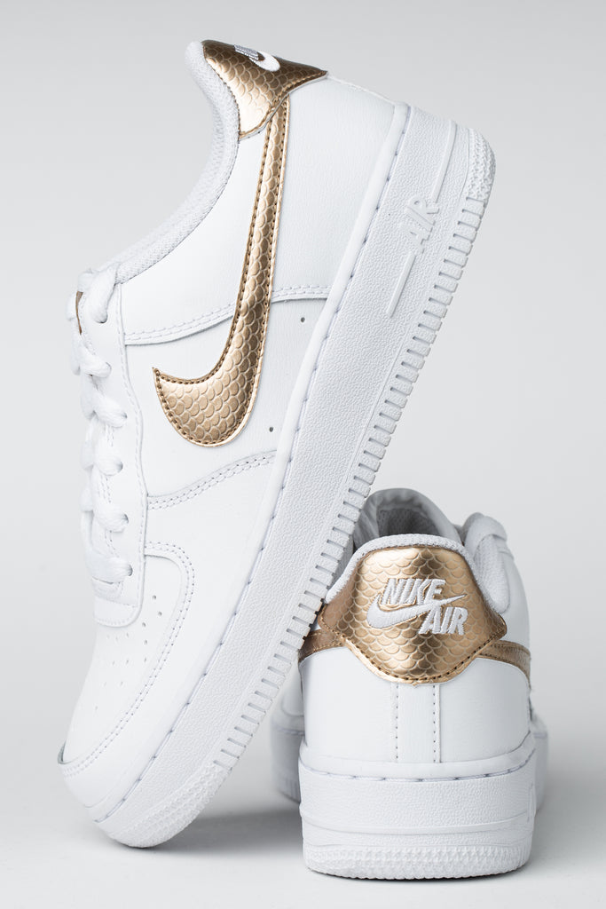 nike white & gold air force 1 ep trainers youth